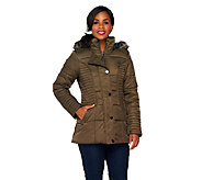 Liz Claiborne New York Puffer Coat with Faux Fur Hood - A257183