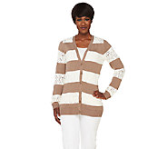 Liz Claiborne New York Striped Pointelle Cardigan - A262183