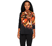 As Is Susan Graver Liquid Knit Front Placement Print Tunic - A264383