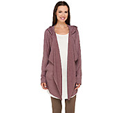 LOGO Lounge by Lori Goldstein French Terry Cascade Front Hooded Cardigan - A265583