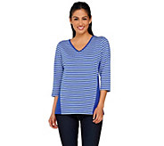 Denim & Co. Perfect Jersey Stripe Color-Block 3/4 Sleeve Top - A265683