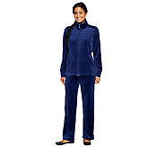 As Is Denim & Co. Active Petite Velour Jacket & Pant Set - A266083