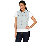 Denim & Co. Striped Denim Jean Vest - A267383