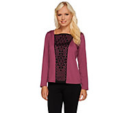 Bob Mackies Square Neck Knit Top with Laser Cut Front Overlay - A268383