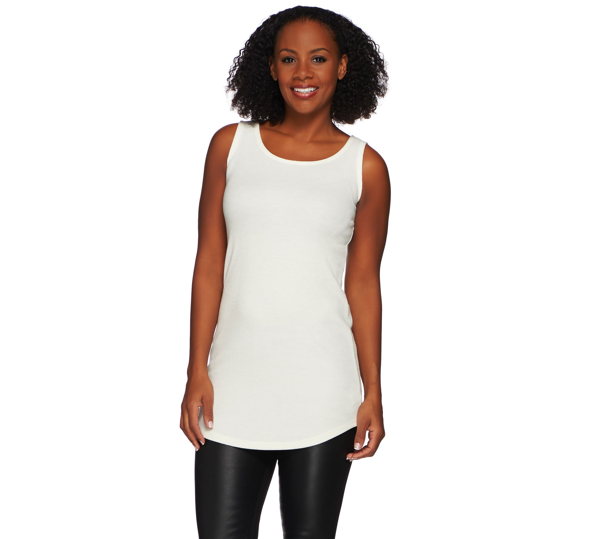 LOGO Layers by Lori Goldstein Thermal Knit Tank with Shirttail Hem - A269983