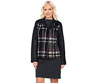 Denim & Co. Plaid and Faux Leather Motorcycle Jacket - A270183