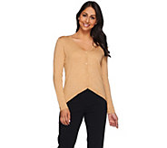 H by Halston Button Front Long Sleeve Sweater Cardigan - A272283