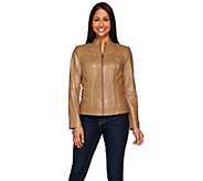 G.I.L.I. Zip Front Leather Jacket with Seaming Detail - A272883