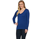 H by Halston Long Sleeve V-neck Knit Top with Seaming Details - A273283