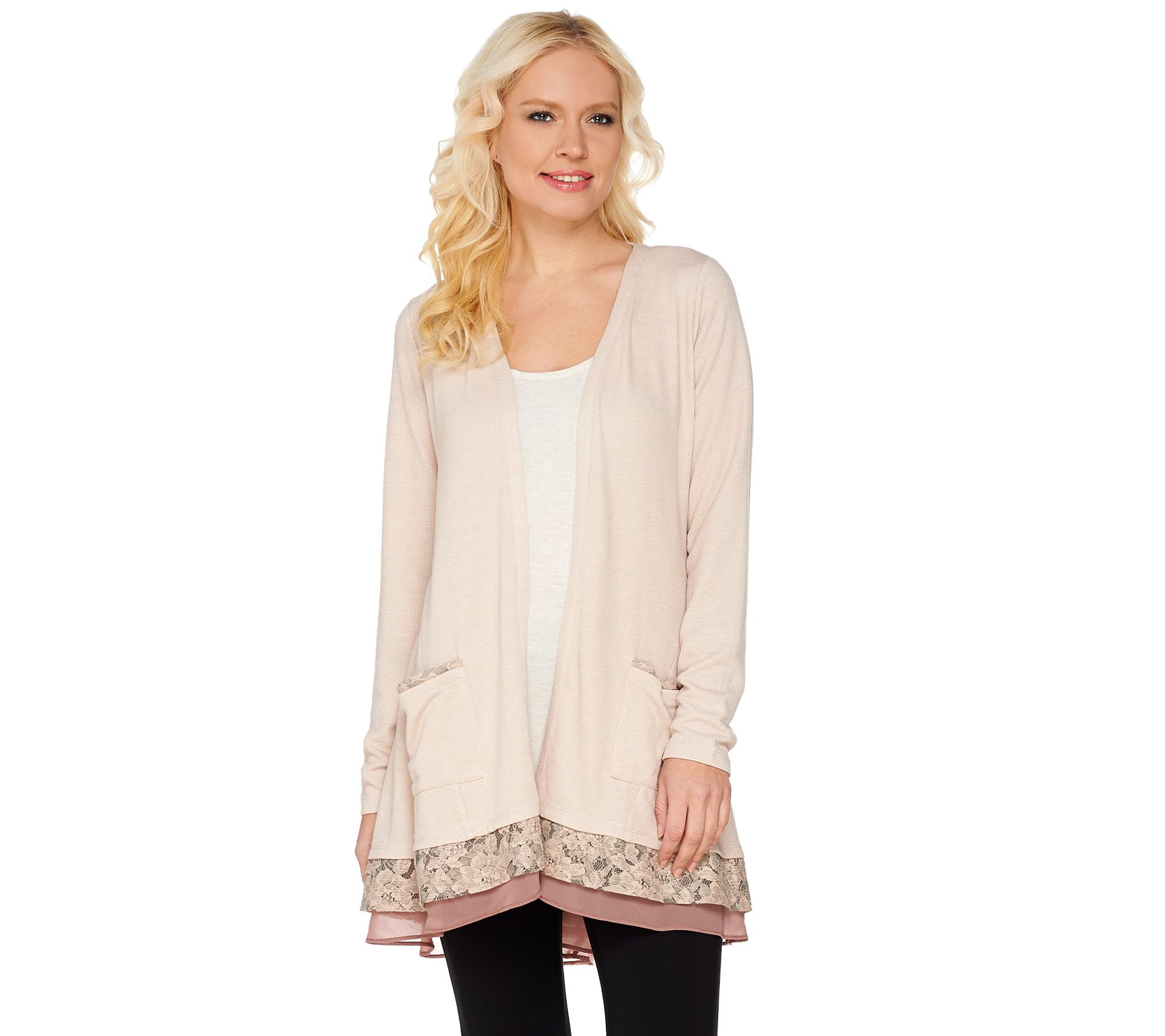 LOGO by Lori Goldstein Waffle Knit Cardigan with Lace Trim - Page ...