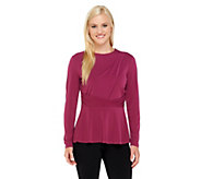 As Is George Simonton Crystal Knit Long Sleeve Peplum Top - A276683