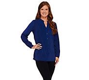 As Is Susan Graver Stretch Peachskin Long Sleeve Button Front Shirt - A277283