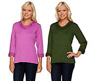 As Is Quacker Factory Sparkle /Shine Set of 2 Lettuce Edge T-shirt - A278183