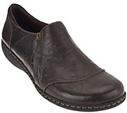 As Is Clarks Leather Slip-ons with Side Zipper - Fianna Cleo - A278683