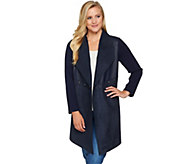 Studio by Denim & Co. Faux Suede and Sweater Cascade Front Cardigan - A280683