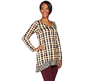 LOGO by Lori Goldstein Mixed Plaid V-neck Knit Top - A282183