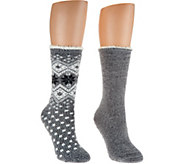 Cuddl Duds Plushfill Cozy Lined Cabin Socks Set of 2 - A282383