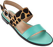 As Is LOGO by Lori Goldstein Leather Slingback Sandals - A289083