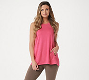 LOGO Lounge by Lori Goldstein French Terry Tank w/ Hi-Low Hem & Pockets - A290483