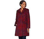 As Is Issac Mizrahi Live! Brushed Houndstooth Snap Front Coat - A291183