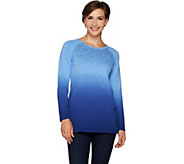 Quacker Factory Dip Dye Ombre French Terry Pullover with Sequins - A292683