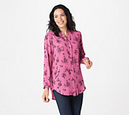Joan Rivers Silky Floral Print Blouse with Long Sleeves - A293983