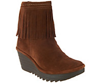 FLY London Suede Ankle Boots with Fringe - Yagi - A297183