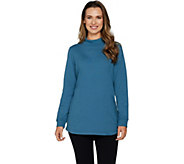Denim & Co. Active Hi Low Hem Long Sleeve Mock Neck Tunic - A297783