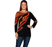 Bob Mackies 3/4 Sleeve Placement Print Pull Over Sweater - A298683