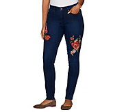 Martha Stewart Regular Floral Embroidered 5-Pocket Ankle Jeans - A301083