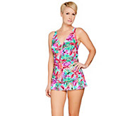 As Is Ocean Dream Signature Floral Palm X-Back Swim Dress - A302683
