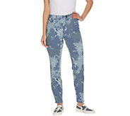 LOGO by Lori Goldstein Petite Printed Stretch Twill Ankle Jeans - A303883