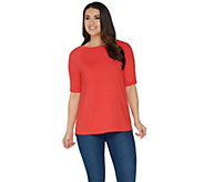 Martha Stewart Knit Elbow Sleeve Top with Grommet Detail - A307683