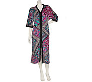 As Is Ellen Tracy Plush Velour Zip Front Long Caftan - A308183