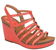 Sofft Leather Wedge Sandals - Cassie - A339483