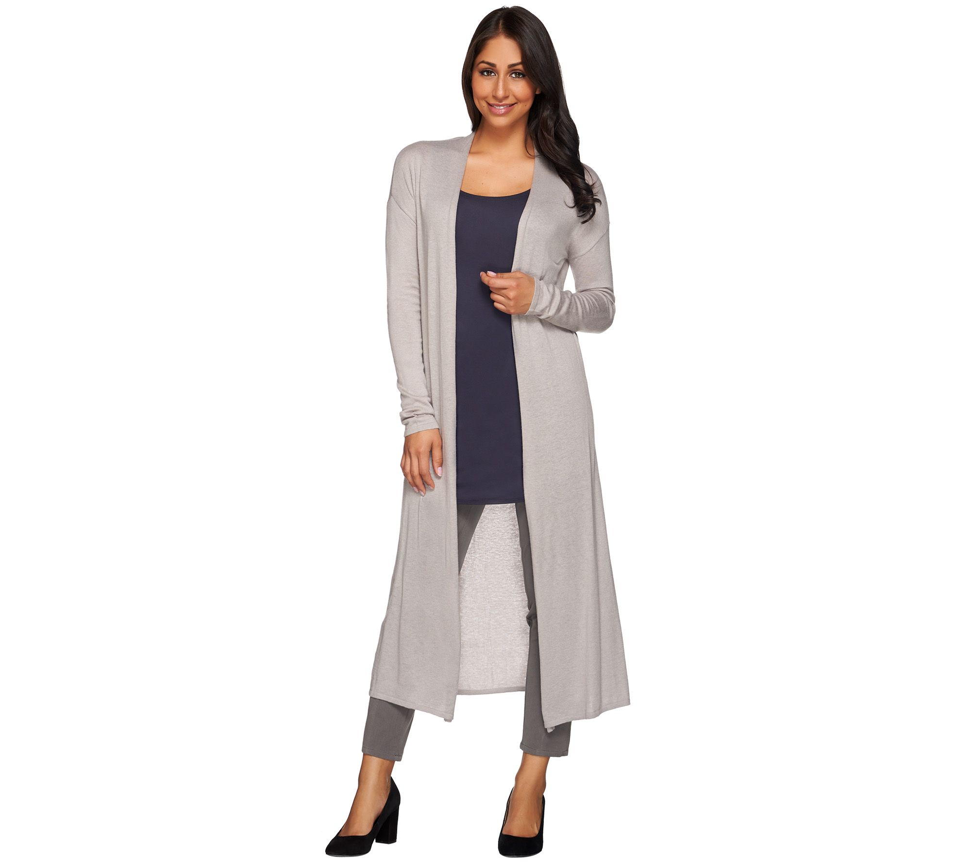 H by Halston Open Front Long Sleeve Maxi Cardigan