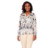 Susan Graver Printed Sheer Chiffon Split Neck Button Front Shirt - A199384