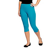 Women with Control Pull-on Stretch Pedal Pushers with Side Slit - A202284