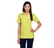 Denim & Co. Essentials Perfect Jersey Short Sleeve Polo Shirt - A215184