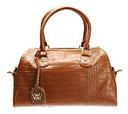 Medium Python or Croco Embossed Leather Satchel - A223684