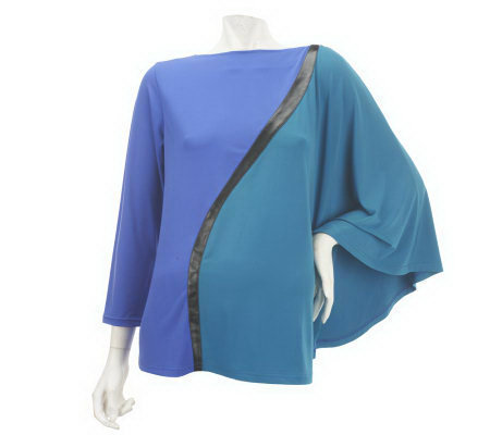 Bob Mackie's Boat Neck Colorblock Top with Faux Leather Detail