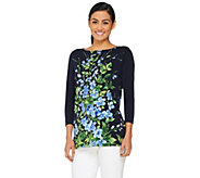 Susan Graver Printed Liquid Knit 3/4 Sleeve Top with Embellishments - A230484
