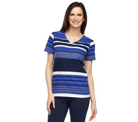 Liz claiborne new york v neck short sleeve striped t shirt for Liz claiborne v neck t shirts