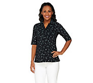 Susan Graver Weekend Printed Stretch Cotton Polo - A233284
