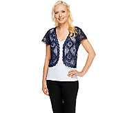 Liz Claiborne New York Short Sleeve Open Front Lace Shrug - A234184