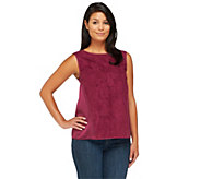 Nicole Richie Collection Sleeveless Blouse w/ Faux Suede Front - A236484