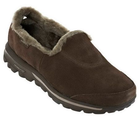 Skechers GOwalk Suede Slip-on Shoes With Faux Fur - Page 1 ...