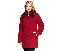Dennis Basso Faux Wool Turnkey Coat w/ Removable Fur Collar - A236884
