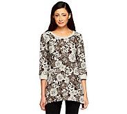 Denim & Co. Knit 3/4 Sleeve Floral Print Trapeze Hem Top - A237184