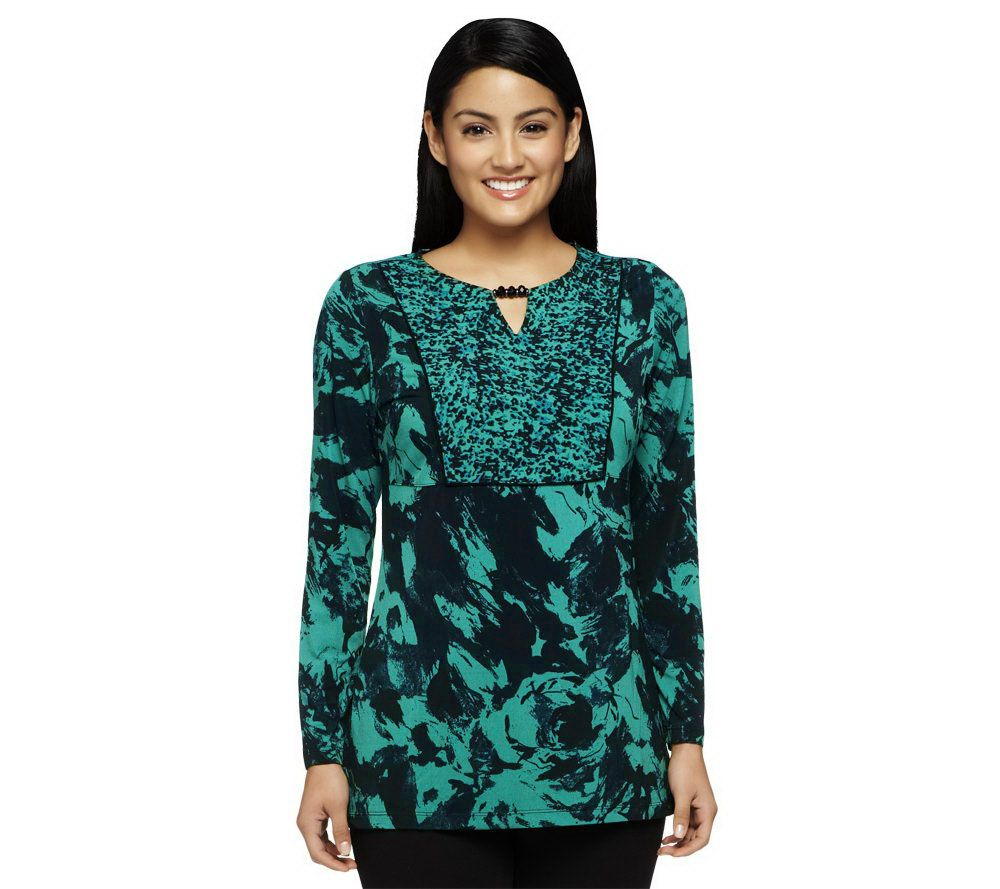 Susan Graver Liquid Knit Printed Tunic w/Beaded Keyhole Detail